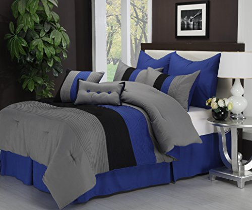 (Superior 8-Piece Luxurious Florence Comforter Set, Beautiful Pleated Bed-in-a-Bag, Queen, Blue)