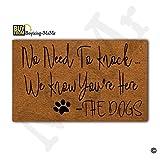 MsMr No Need To Knock We Know You're Here the Dogs Doormat Doormat Entrance Floor Mat Decorative Indoor/Outdoor Door Mat Non-slip Non-woven fabric Doormat 23.6''x15.7''