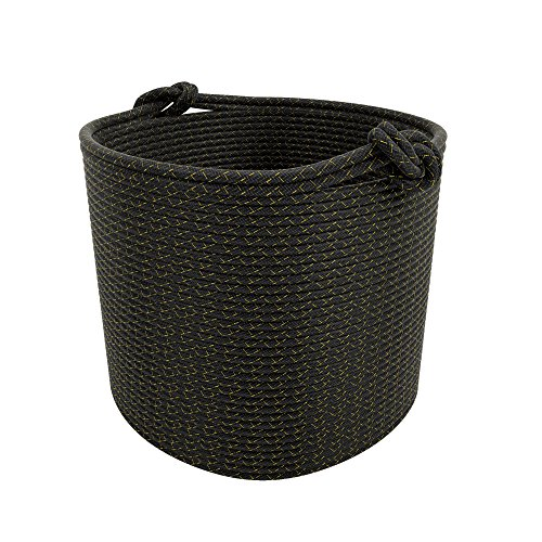 Cotton Rope Storage Basket With Handles Soft Durable Toy Storage Nursery Bins Home Decorations (Black Gold)