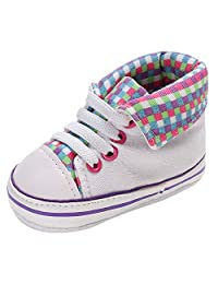 VEKDONE Baby Canvas Shoes Infant Crib Shoes Toddler Sneakers for 0-24 Months