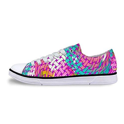 För U Designar Snygga Unisex Rand Wave Print Låg Topp Platta Skor Lätta Mode Sneaker Spets-up Rosa B