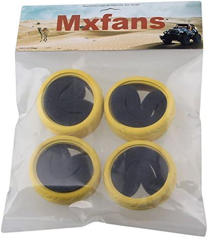 Mxfans 4pcs ellowラバー魚スケールパターンホイールタイヤfor rc1/ 10オンロードレーシングCar od65mm ( 2.56