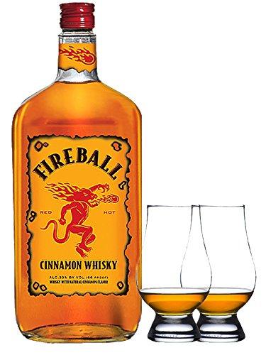Fireball Whisky Zimt Likör 0,7 Liter + 2 Glencairn Gläser