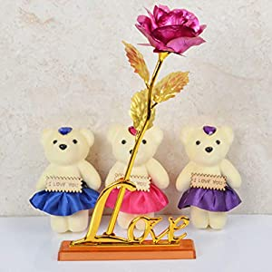 CapsA Artificial Flower Flower Unique Gifts Mother's Day Gold Foil Rose with Love Base Bear is The Best Choice for Gifts 21