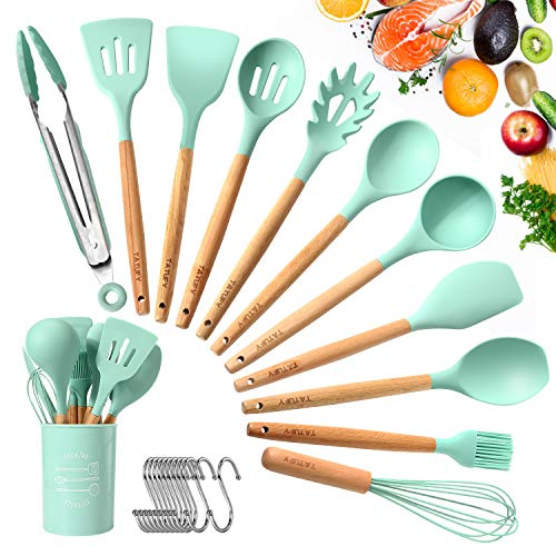 TATUFY 12pcs Silicone Cooking Kitchen Utensils Set, Bamboo Wooden Handles Cooking Tool BPA Free Non Toxic Silicone Turner Tongs Spatula Spoon Kitchen Gadgets Utensil Set for Nonstick Cookware
