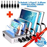 6 USB Charging Station For Multiple Devices – FAST Multiple Usb Charger Multi Port Hub – NO BUZZ Nightstand Charging Station Organizer Dock – Smart Cell Phone Docking Station LED iPhone Charger Stand