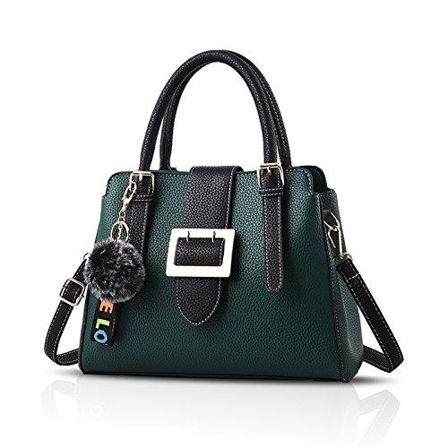 Tisdaini 2018 Moda Mujer bolso de mano PU piel bolso bandolera trabajo Chica bolso Verde