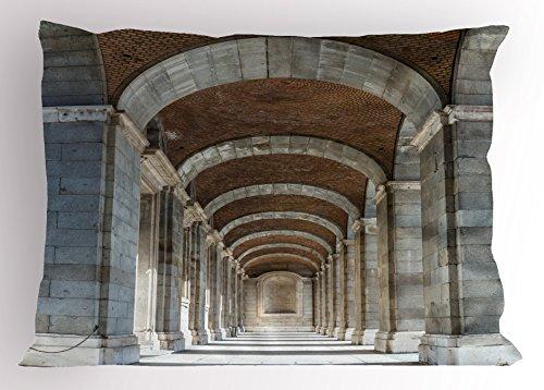 Lunarable European Pillow Sham, Royal Palace Corridor Madrid Spain Historic Famous European Landmark Facade Picture, Decorative Standard Queen Size Printed Pillowcase, 30 X 20 Inches, Grey by Lunarable