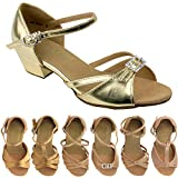 Party Party Girls Ballroom Dance Shoes: 1720G:Gold Leather:1.5'' Heel:Girls Size 1