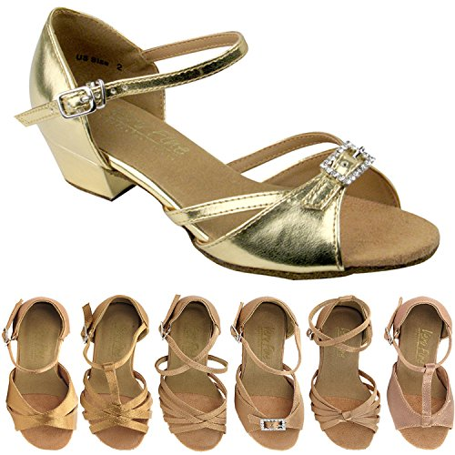 Party Party Girls Ballroom Dance Shoes: 1720G:Gold Leather:1.5'' Heel:Girls Size 1 by Gold Pigeon Shoes (Image #1)