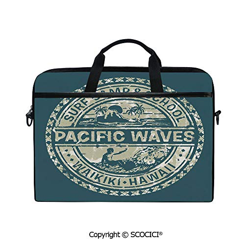 Durable Waterproof Printed Laptop Shoulderr Bag Pacific Waves Surf Camp and School Hawaii Logo Motif with Artsy Effects Design Computer Briefcases for 15 inch (Waves Surf Camp)