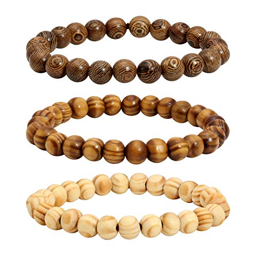 MILAKOO 3 Pcs Wooden Beaded Bracelet Bangle for Men and Women Elastic 8MM Beads