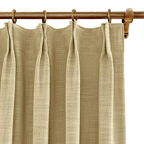 BeyondEC Blackout Curtains Polyester and Linen Window Treatments with Curtain Hooks for rods Pinch Pleated,Curtains for Bedroom Living Room Study Patio Door(1 Panel) 100Wx84L Inch,Sand Beige