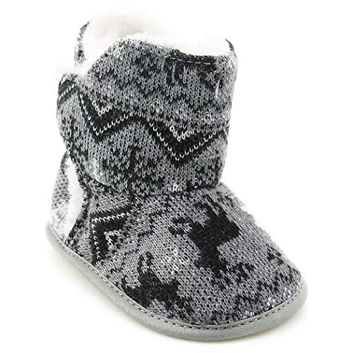 Grey Soft Sole Zoylink Boots Toddlers Snow Baby Warm Prewalker Christmas for L Boots wqW16Sag