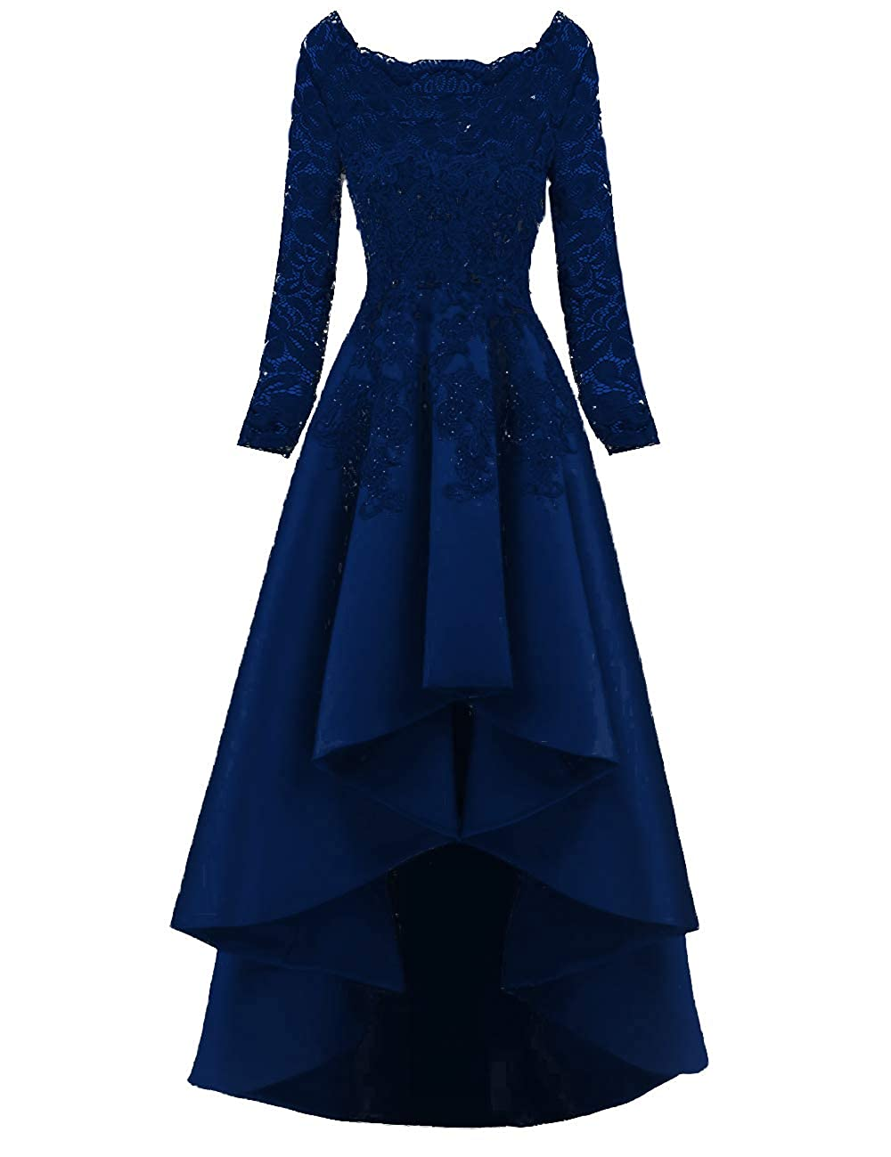 Navy bluee PROMNOVAS Long Sleeves Appliques Prom Dresses Ruffles Evening Party Dresses