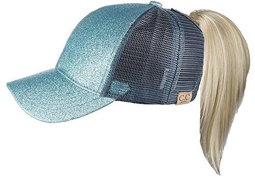 Funky Junque H-209KIDS-54 Kids Messy Bun Ponytail Hat - Glitter - Cool Mint