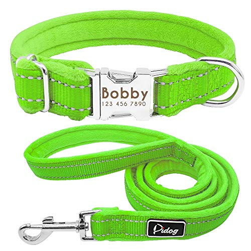 Didog Soft Personalized Dog Collar, Flannel Padded Custom Dog Collar and Leash Sets,Reflective Engraved Collar with 4 Feet Leashes for Small Medium Large Dog, Green, Large Size