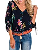 VAYAGER Womens V Neck Button Down T Shirt Floral Print Tie Knot 3/4 Sleeve Loose Casual Henley Crop Tops (Blue, M)