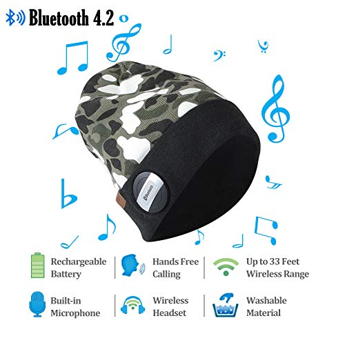SuMade Unisex Waterproof Wireless Bluetooth 4.2 Fleece Lined Winter Warm Slouchy Beanie Musical Knit Headphone Speaker Hat with Detachable Built-in Mic for Running Hiking Traveling (Camo, L (Digital Camo Winter Hat)