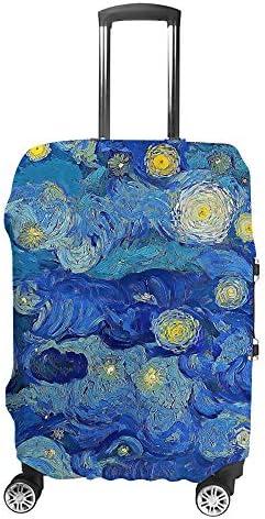 スーツケースカバー 曇った青い夜空 印象派 伸縮素材 キャリーバッグ お荷物カバ 保護 傷や汚れから守る ジッパー 水洗える 旅行 出張 S/M/L/XLサイズ