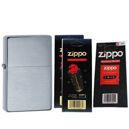 Zippo 23025 Vintage Series 1937 Brushed Chrome Windproof Pocket Lighter with Two Flint Card and One Wick Card
