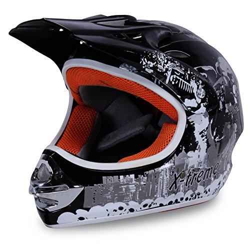 Motorradhelm Kinder Cross Helme Sturzhelm Schutzhelm Helm für Motorrad Kinderquad und Crossbike Modell Design 2015 in schwarz (Large)