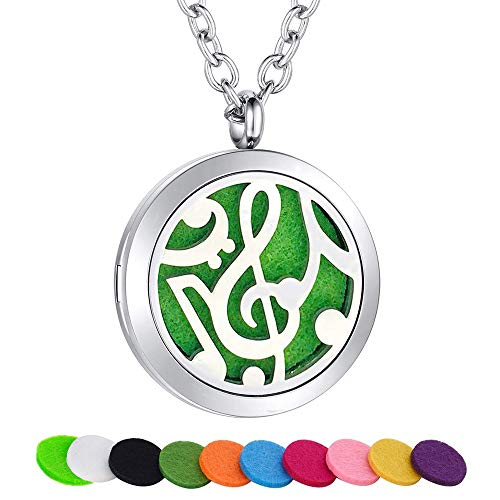 (SWOPAN Essential Oil Diffuser Necklace Aromatherapy Music Note Diffuser Locket Pendant Stainless Steel Necklace for Women Men Aroma Therapy Perfume Necklace Jewelry, Music Note Diffuser Locket)