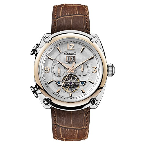 Ingersoll Men's Automatic Stainless Steel and Leather Casual Watch, Color:Brown (Model: I01103)
