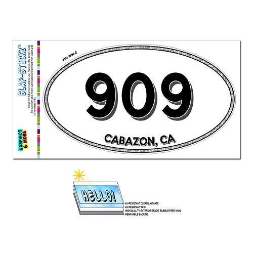 Graphics and More Area Code Oval Window Laminated Sticker 909 California CA Aguanga - Sugarloaf - - Ca Cabazon