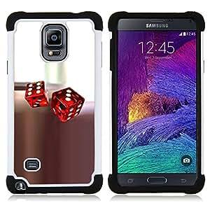 BullDog Case - FOR/Samsung Galaxy Note 4 SM-N910 N910 / - / GAME ROLLING DICE PLAY CASINO WHITE RED /- H??brido Heavy Duty caja del tel??fono protector din??mico - silicona suave