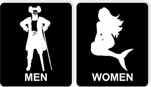 "PotteLove Funny Bathroom Sign Restroom Sign Aluminum Pirate Mermaid Seafood Decor Novelty Art Sign Funny Aluminum Metal Tin Signs 8""X12"""