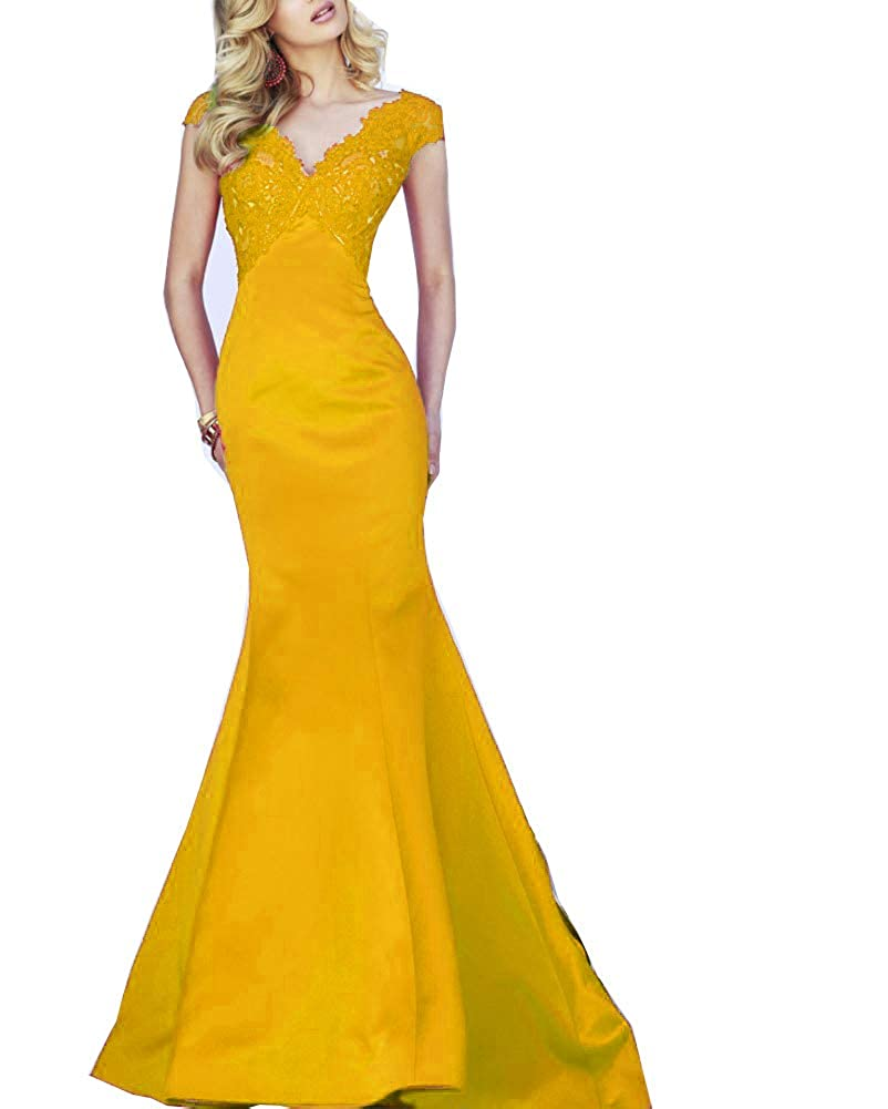 Yellow Darcy74Dulles Women's Appliques VNeck Mermaid Evening Gowns Dress Backless Satin Long Formal Prom Gowns Dresses