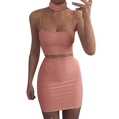 e41325d1f2af 2018 Frauen Bluse Rock Sets Rosennie Sexy Damen Ärmellos Oberteil + Rock  Zweiteiler Cocktailkleid Party Clubwear