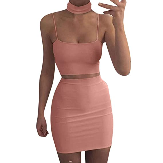 3544b02811949d 2018 Frauen Bluse Rock Sets Rosennie Sexy Damen Ärmellos Oberteil + Rock  Zweiteiler Cocktailkleid Party Clubwear