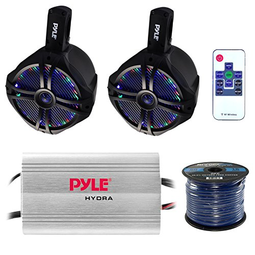 Marine Speaker And Amp Combo: Pyle PLMRMP3A 4 Channel 1200 Watt Waterproof MP3 Power Amplifier Bundle With 2X 6.5