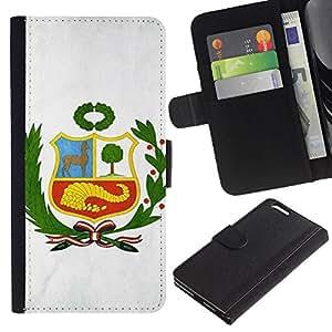 EJOY---La carpeta del tirón la caja de cuero de alta calidad de la PU Caso protector / Apple Iphone 6 PLUS 5.5 / --Perú Bandera