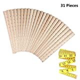30 PCS Wood Rulers Wooden Ruler Student Rulers School Rulers Office Rulers and Clothing Measuring Rulers, 2Scale (30 cm and 12 inch)
