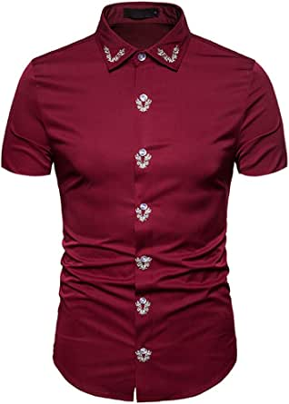 Leey - Camisa de Hombre con Bordado de la Corte de Manga ...