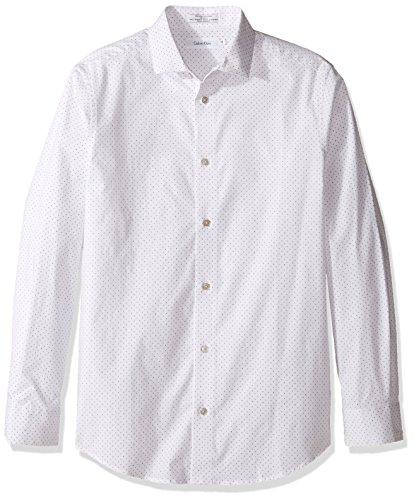 Calvin Klein Big Boys' Long Sleeve Fashion Print Woven Shirt, White Dots, 16