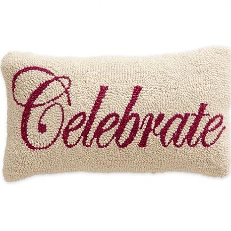 Amazon.com: hand-hooked lana Celebrate lumbar almohada con ...