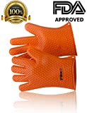 Heat resistant Silicone BBQ Gloves. Use as Cooking Gloves, Oven Mitts, Pot holders or Grill Gloves. Silicone gloves are great Oven Mitts and will protect your hands up to 425F -Lifetime warranty-