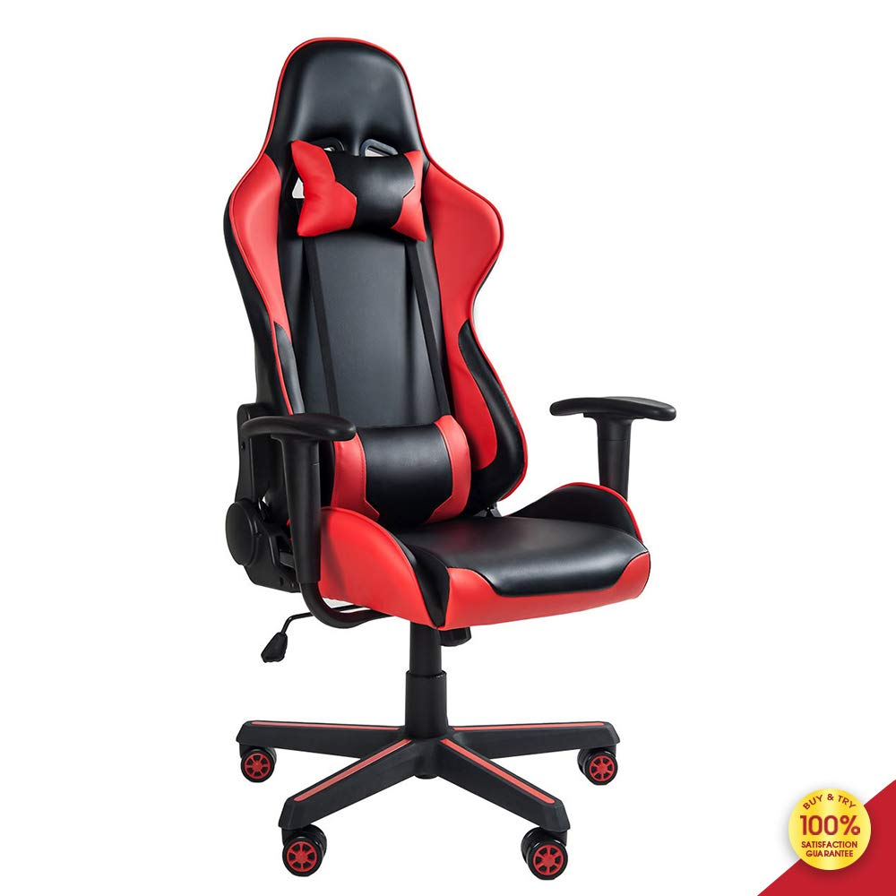 MIERES Video Gaming Chair Racing Office-PU Leather High Back Ergonomic 150 Degree Adjustable Swivel Executive Computer Desk Task Large Size,Headrest and Lumbar Support, Red7 by MIERES