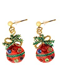 Dovewill Multi-color Rhinestone Christmas Lovely Drop Dangle Studs Earrings for Xmas Holiday Gift