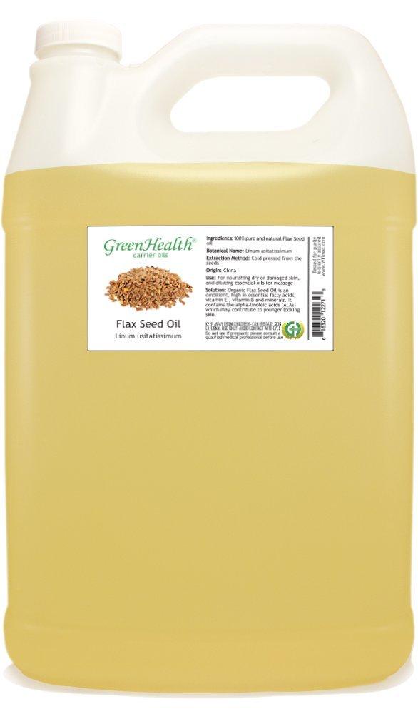 GreenHealth Flax Seed Oil - 1 Gallon Plastic Jug w/Cap - 100% Pure Carrier Oil
