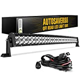 LED Light Bar AUTO 4D 32 Inch Curved Led Work Light 300W with 8ft Wiring Harness Kit, 30000LM Offroad Driving Fog Lamp Marine Boating Lights IP68 WATERPROOF Spot & Flood Combo Beam, 2 Year Warranty