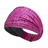 Singa-Z Women's Yoga Sports Athletic Wide Edges Headband Sweatband for Running Travel Fitness Elastic Moisture Wicking Breathable Non-Slip Dual-Purpose Front and Back wear Hair Band