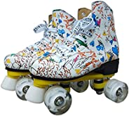 Quad Roller Skates for Beginner Soft Faux Leather Graffiti Double Line Skates with White PU for Women Men Adul