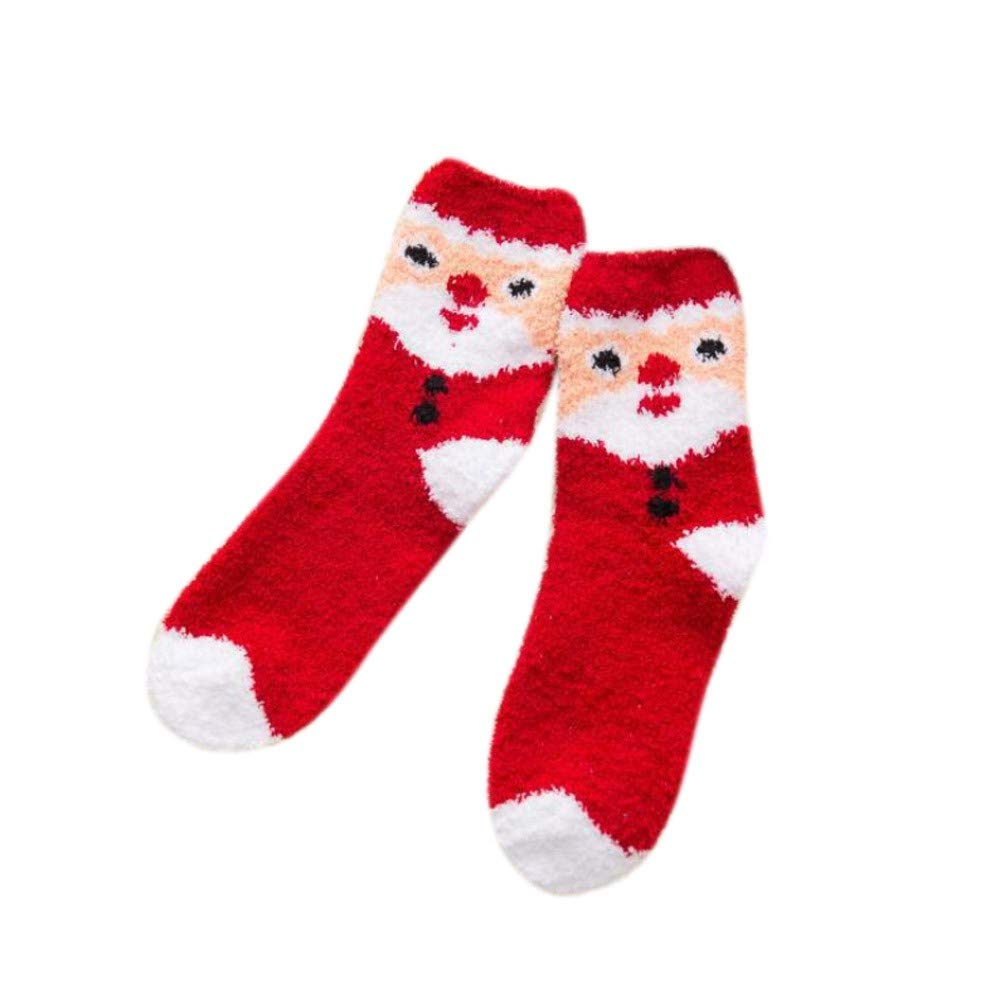 Tonsee Chaussettes pour dames épaisses chaussettes d'hiver chaudes et chaudes pour équipage de Noël