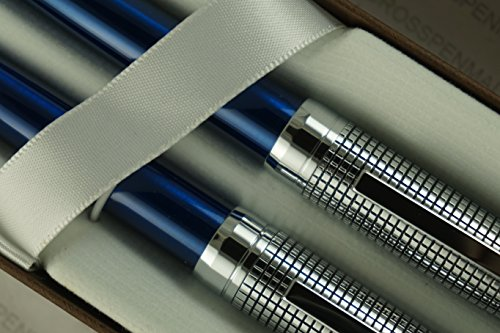 Cross Diamond Cut Crosshatch Etched Cap and Blue Lacquer Barrel Ballpoint Pen and 0.7mm Pencil ()