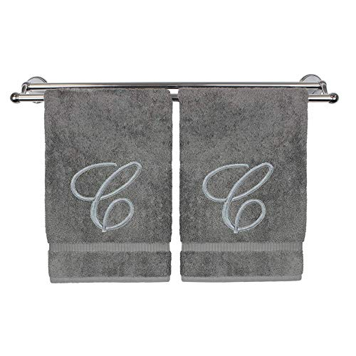 (Monogrammed Hand Towel, Personalized Gift, 16 x 30 Inches - Set of 2 - Silver Embroidered Towel - Extra Absorbent 100% Turkish Cotton- Soft Terry Finish - for Bathroom, Kitchen and Spa- Script C Gray)